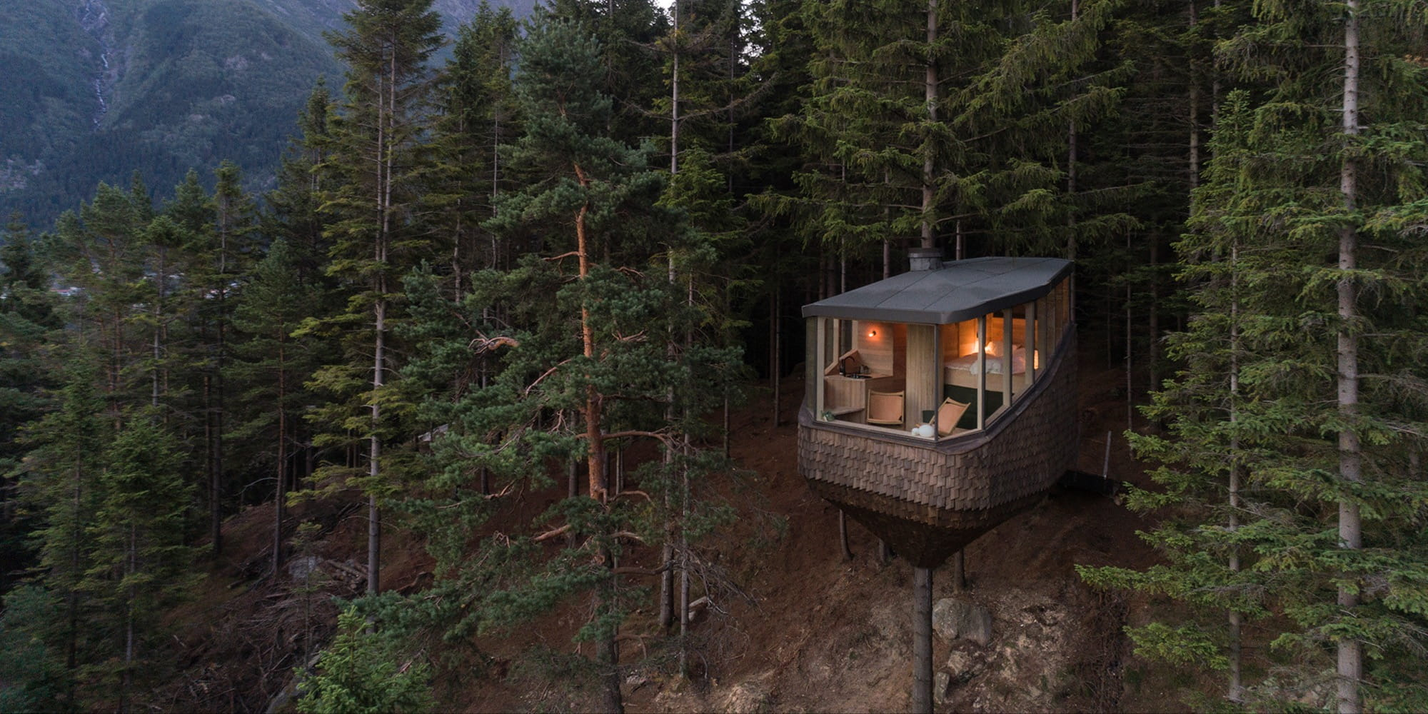 Helen & Hard completes wooden cabins in Norway suspended above the forest