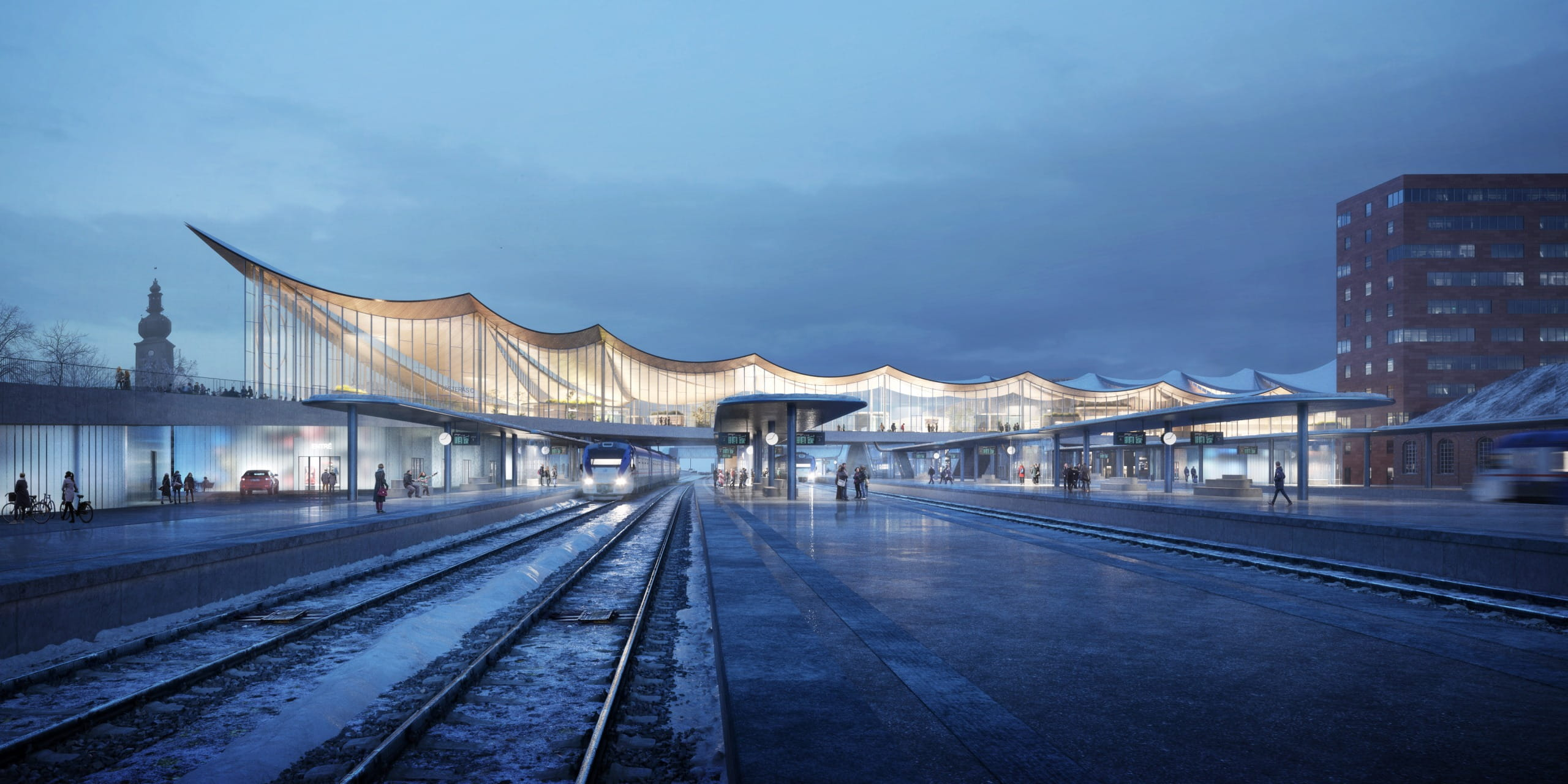 Striking timber roof with sweeping curves defines BIG proposal for Västerås Travel Centre in Sweden