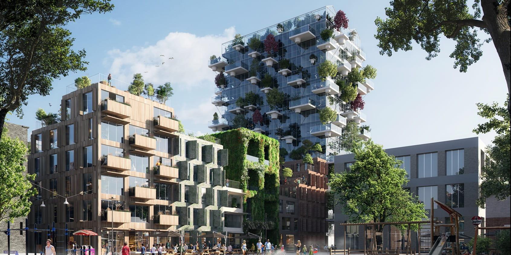 MVRDV creates new green block of seven sustainable residential buildings on Amsterdam's Oostenburg Island