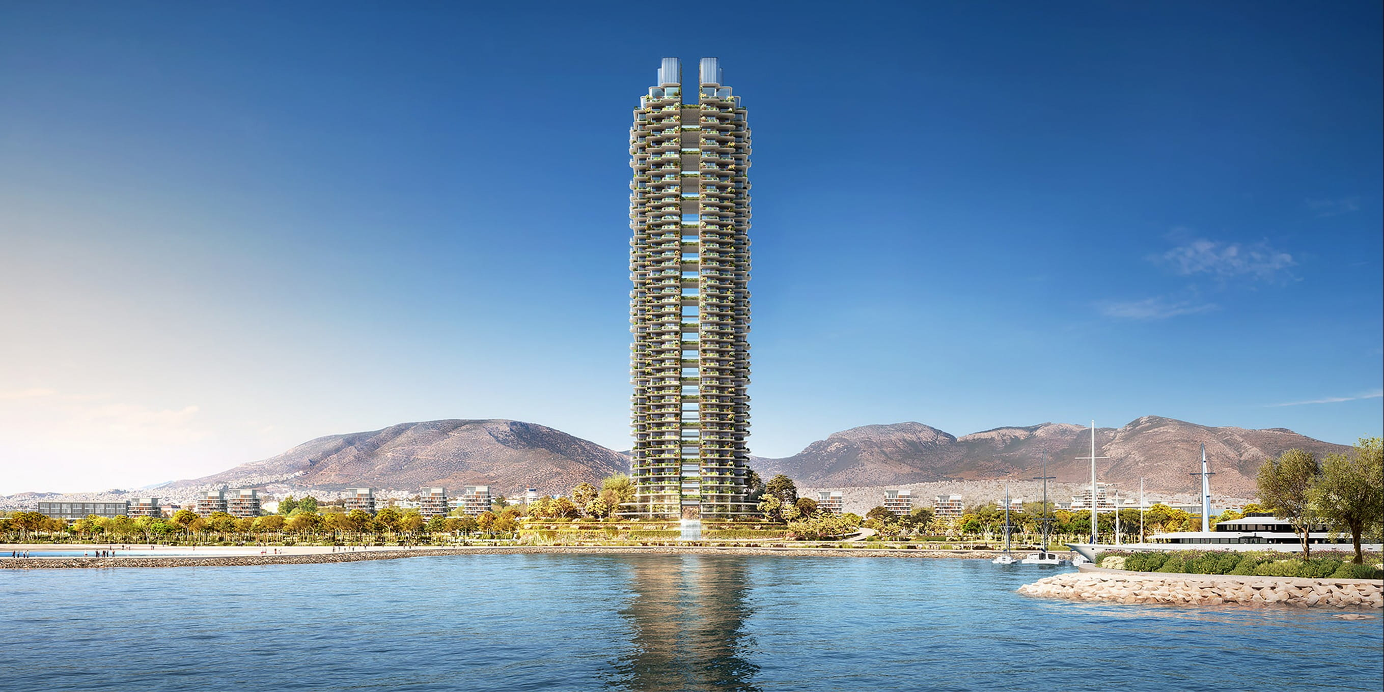 Foster + Partners reveals design for 200-metre-high Marina Tower, the tallest building in Greece