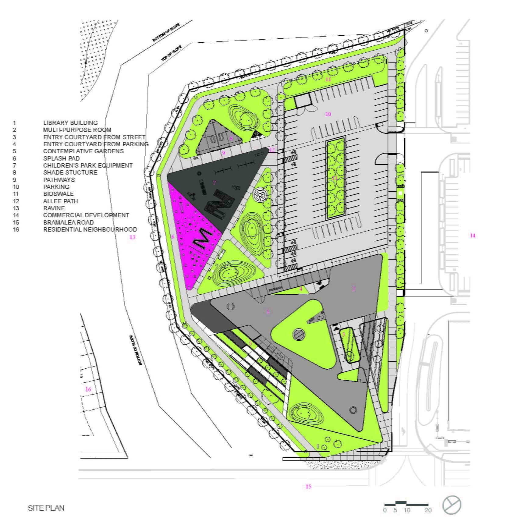Springdale Library in Brampton by RDHA, Site Plan