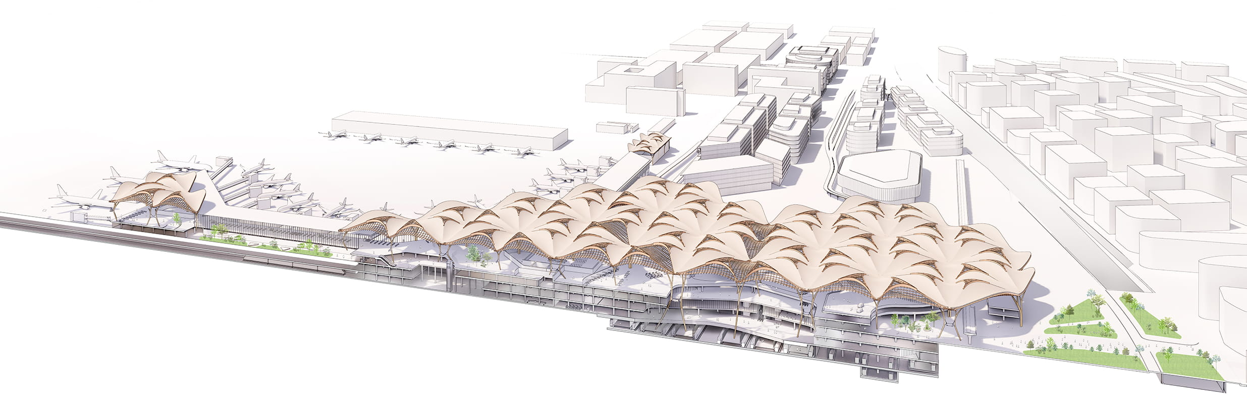 Axonometric Section of new Shenzhen Airport East Integrated Transport Hub